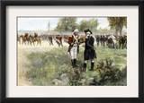 Surrender of British Commander Burgoyne to American General Gates at Saratoga, New York, c.1777 Prints