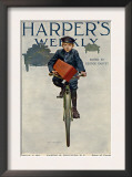 Florist's Delivery Boy on a Bicycle, Harper's Weekly Cover for March 11, 1911 Posters