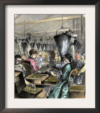 Factory Workers Making Rifle Cartridges, c.1870 Print