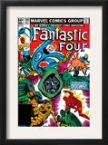 Fantastic Four 246 Cover: Dr. Doom, Mr. Fantastic, Invisible Woman, Human Torch and Thing Fighting Print by John Byrne