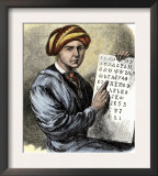 Sequoya Holding His Cherokee Alphabet Prints