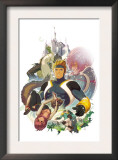 I Heart Marvel: Masked Intentions 1 Cover: Justice, Speedball, Squirrel Girl and Firestar Smashing Poster by Gez Fry