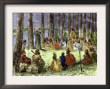Jesuit Missionary Preaching to Native Americans and Fur Traders in the Wilderness Poster