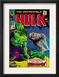 Marvel Comics Retro: The Incredible Hulk Comic Book Cover 104, with the Rhino (aged) Prints
