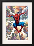 Spider-Man, Green Goblin, Sandman, Electro, Doctor Octopus, Mysterio, and Vulture Fighting in City Prints
