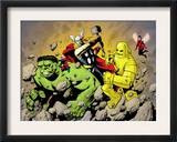 Avengers Finale 1 Group: Hulk, Thor, Iron Man, Wasp and Avengers Fighting Print by Eric Powell