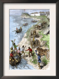 Fur Traders Arriving at a Hudson Bay Company Post in Boats and Wagons Prints