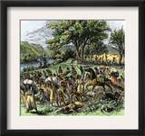 Battle of Bad Axe in Wisconsin, Ending the Black Hawk War, c.1832 Prints