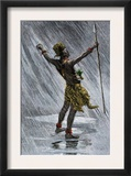African Native Shaman Invoking Rain in the Valley of the Congo, 1800s Prints