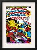 Captain America And The Falcon 205 Cover: Captain America, Falcon and Agron Fighting and Flying Prints by Jack Kirby