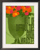Miracles Vintage Green Trophy Print by Lisa Weedn