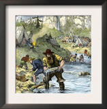 Prospectors Panning for Gold in the California Gold Rush Prints