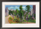 Custer State Park, South Dakota - Autumn View Along Needles Highway, Hairpin Curve, c.1935 Print
