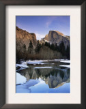 Half Dome Above River and Winter Snow, Yosemite National Park, California, USA Prints by David Welling