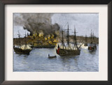 Destruction of Falmouth, Maine by Artillery Fire from British Ships, October 1775 Posters
