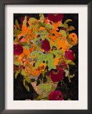 Vintage Flowers in Vase - Chocolate and Cranberry Posters by Lisa Weedn