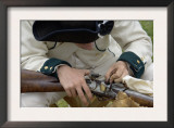 French Soldier Cleaning His Musket at a Reenactment on the Yorktown Battlefield, Virginia Posters