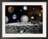 Montage of Images Taken by the Voyager Spacecraft Art by Stocktrek Images