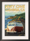 Cambria, California - Highway One Coast, c.2009 Print by  Lantern Press