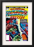 Captain America And The Falcon 202 Cover: Captain America and Falcon Fighting and Flying Posters by Jack Kirby