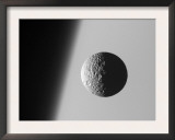 This Amazing Perspective View Captures Battered Moon Mimas Against the Hazy Limb of Planet Saturn Prints by  Stocktrek Images