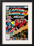Captain America And The Falcon 201 Cover: Captain America and Falcon Crouching Prints by Jack Kirby