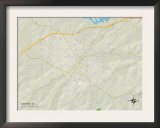 Political Map of Gaffney, SC Prints