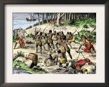Caribbean Natives Massacre the Spaniards Left at La Navidad by Columbus in 1492 Art