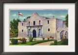 San Antonio, Texas - Exterior View of the Alamo, Republic of Texas Flag, c.1944 Poster