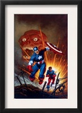 Captain America 8 Cover: Captain America, Bucky and Red Skull Swimming Print by Joe Jusko