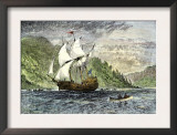 Henry Hudson&#39;s Ship, Half-Moon, Ascending the Hudson River, c.1609 Posters