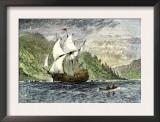 Henry Hudson's Ship, Half-Moon, Ascending the Hudson River, c.1609 Posters