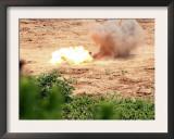 Ten Half-Pound Blocks of TNT Simultaneously Detonate at Camp Schwab's Demo Range Three Prints by  Stocktrek Images