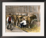 Milking-Time in a Dairy Barn, c.1870 Art