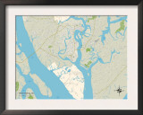 Political Map of Port Royal, SC Prints