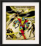 Marvel Comics Retro: X-Men Comic Panel, Colossus, Storm, Charging and Flying (aged) Prints
