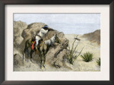 Apache Warrior Ambushing a Covered Wagon in the Southwest, c.1800 Posters