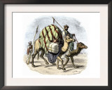 Camel Caravan Loaded with Goods Print