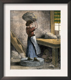 Girl Throwing Clay to Drive Out Air in a Pottery Factory, Trenton New Jersey, c.1870 Prints