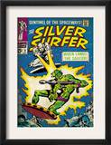 Marvel Comics Retro: Silver Surfer Comic Book Cover 2, Fighting, When Lands the Saucer! (aged) Art