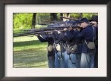Union Infantry Reenactors Firing Their Rifles at Shiloh National Military Park, Tennessee Print