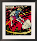 Marvel Comics Retro: Silver Surfer Comic Panel, Saving the girl (aged) Prints