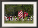 American Army Reenactors with the Rattlesnake Flag at Yorktown Battlefield, Virginia Art