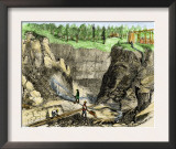 Hydraulic Mining at French Corral, California Gold Rush, c.1850 Posters