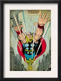 Marvel Comics Retro: Mighty Thor Comic Panel, Flying (aged) Art