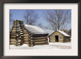 Continental Army Soldiers' Cabins Reconstructed at Valley Forge Winter Camp, Pennsylvania Print