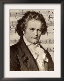 Ludwig Van Beethoven with One of His Manuscripts Print