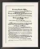 American Handbill Announcing the Treaty of Ghent, Ending the War of 1812 Prints