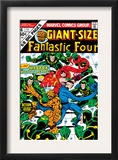 Giant-Size Fantastic Four 4 Cover: Madrox, Medusa, Mr. Fantastic, Thing and Human Torch Fighting Print by John Buscema