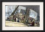 Gold Seekers En Route to the California Gold Rush on a Clipper Ship in Fair Weather, c.1849 Prints